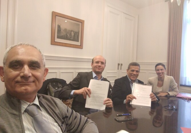 The representatives of the founding organisations on October 24th in the office of Ms notary Sofie Devus in Brussels, from left to right: Saied Tazari with mandate for Fraunhofer IGD, TRIALOG and CERTH ITI, Vicente Traver with Mandate for UPV ITACA, Sergio Guillen with mandate for MySphera, and Ana Amigo with mandate for UPM LST.